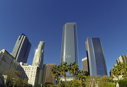 Fish-eye lens photo of downtown Los Angeles skyscrapers
