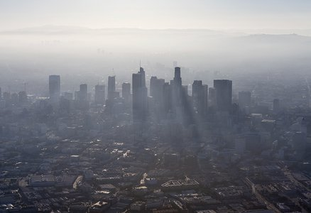 Downtown Los Angeles covered in smog