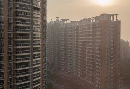 Apartment buildings in smog