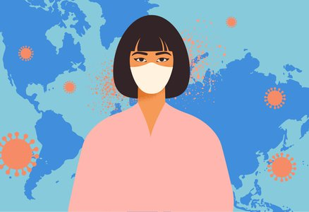 illustration of a woman in a mask standing in front of a map of the world with orange coronavirus graphics on it