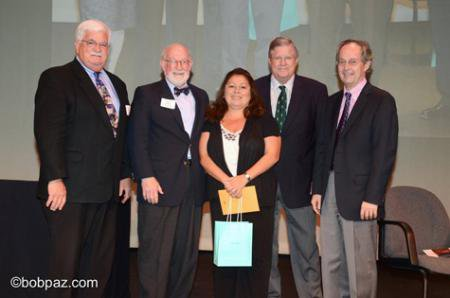 photo of Maria F. Lopez with Caltech dignitaries