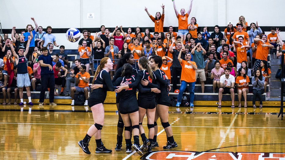 Caltech women's volleyball team celebrating