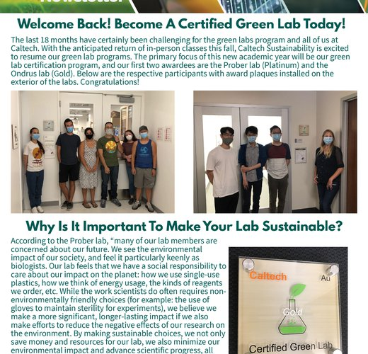 CIT sustainability newsletter fall 2021