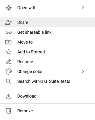 "A screen image of a Google Drive menu, with ""Share"" selection highlighted"