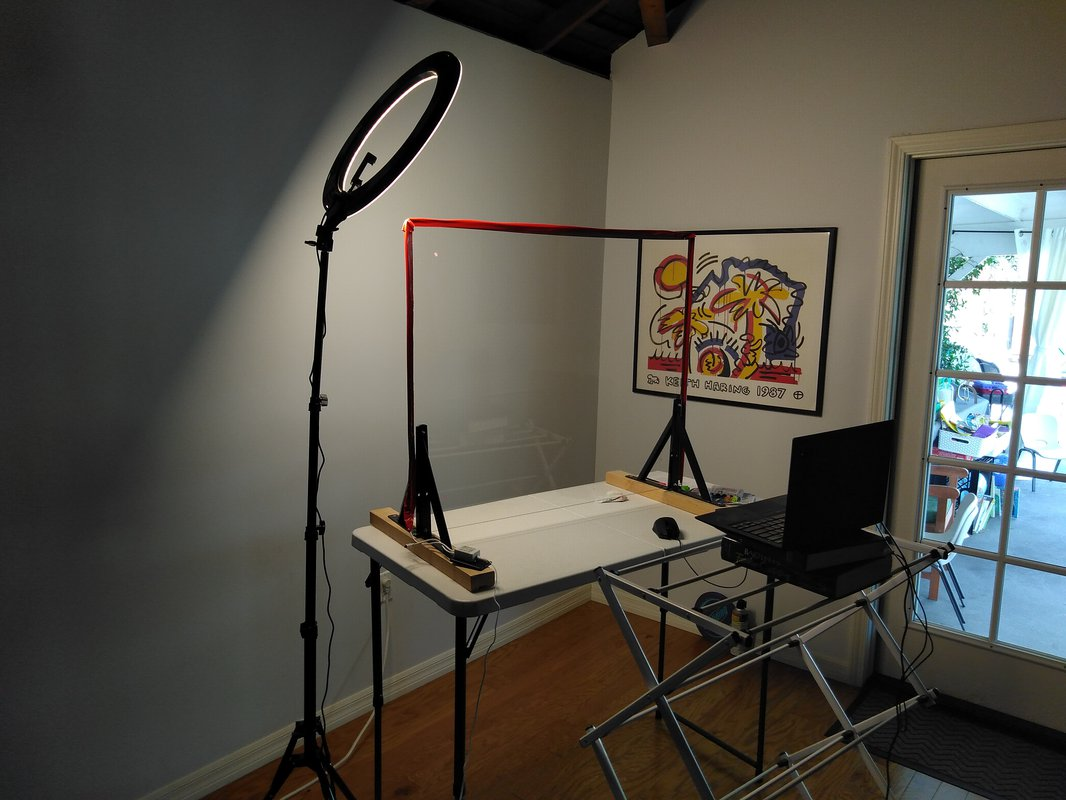set up lightboard teaching solution with glass, table, and chair
