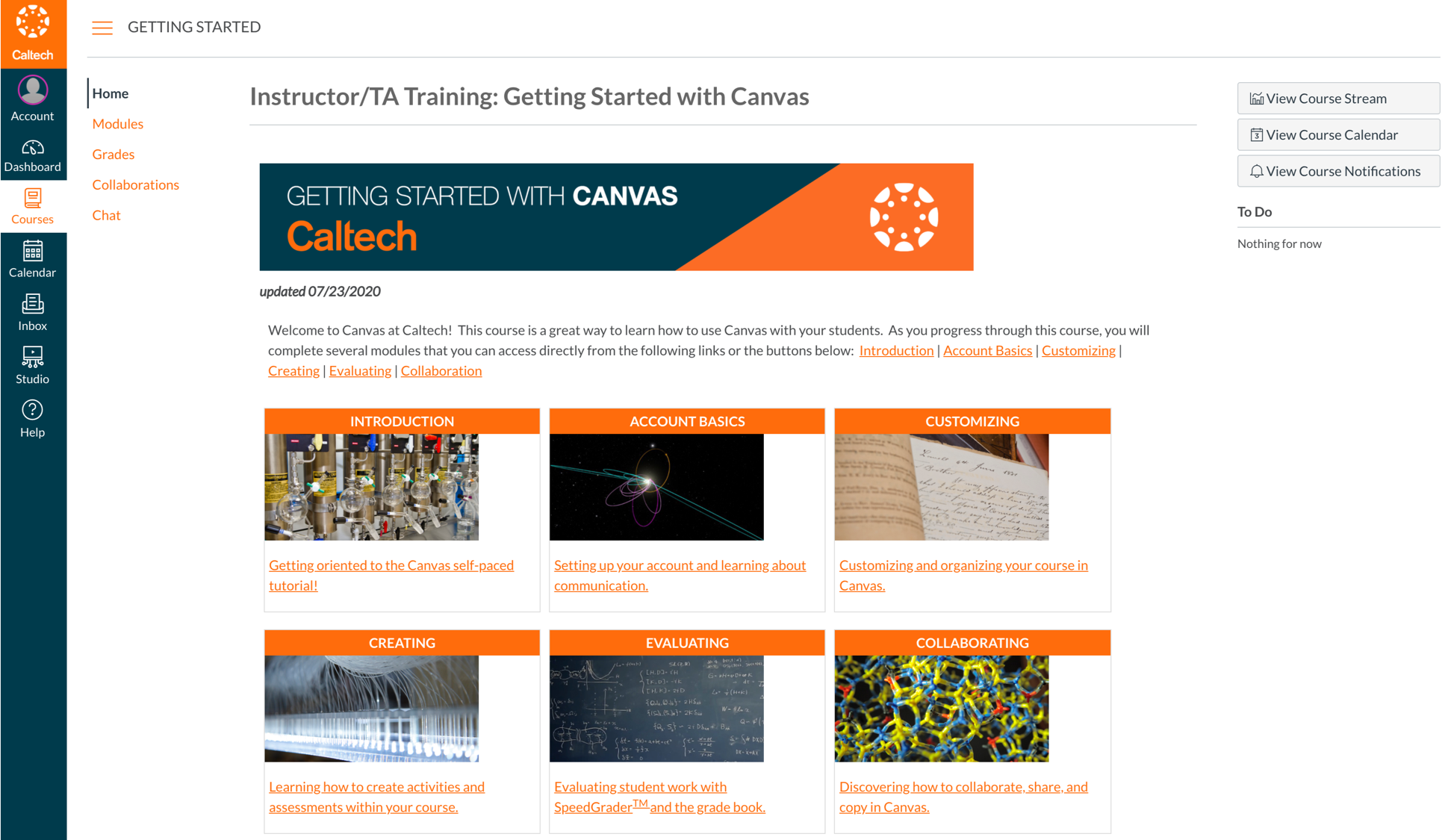 A screen image preview of Caltech's Canvas instance, showing a landing page for a Getting Started with Canvas course for instructors and TAs