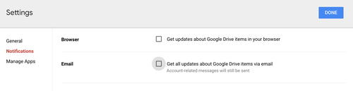 Disable email alerts google drive