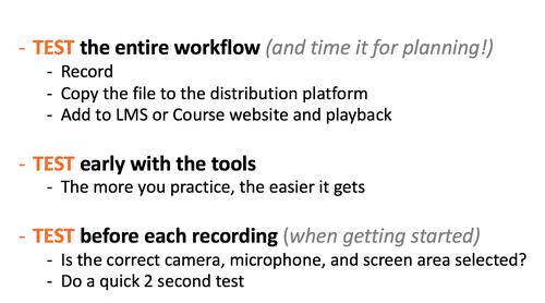 Recording Tips, Test