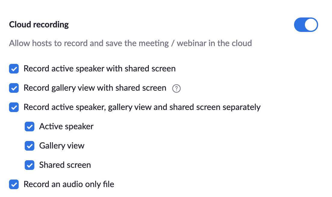 list of check boxes for Zoom Cloud to record multiple settings