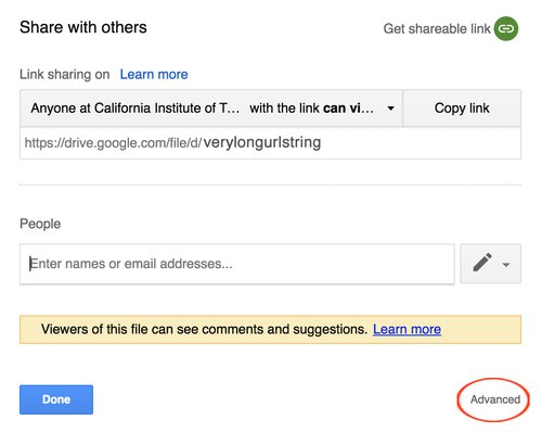 Google Drive Advanced Share permissions
