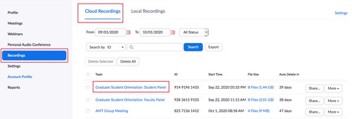 ZOom profile where to find cloud recording list