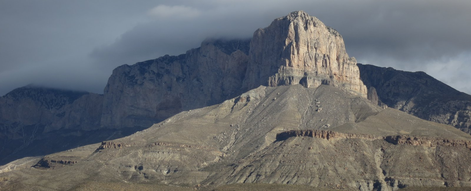 View of El Capitan and the Western Escarpment of Permian-age strata exposed in Guadalupe Mountains National Park, Texas