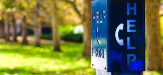 Blue emergency help phone outside