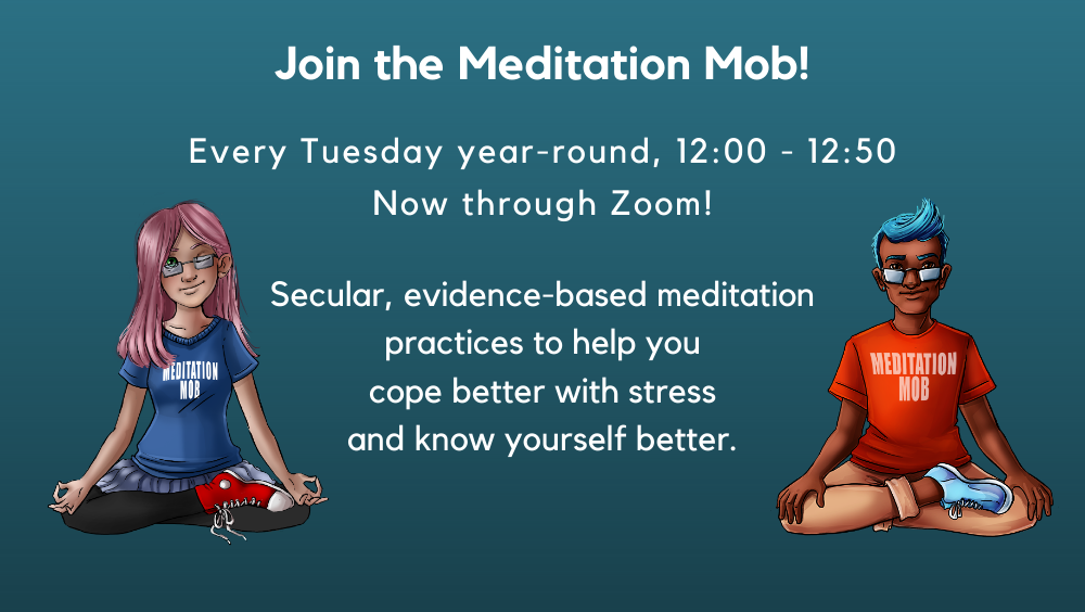 Meditation Mob information with boy and girl sitting cross-legged