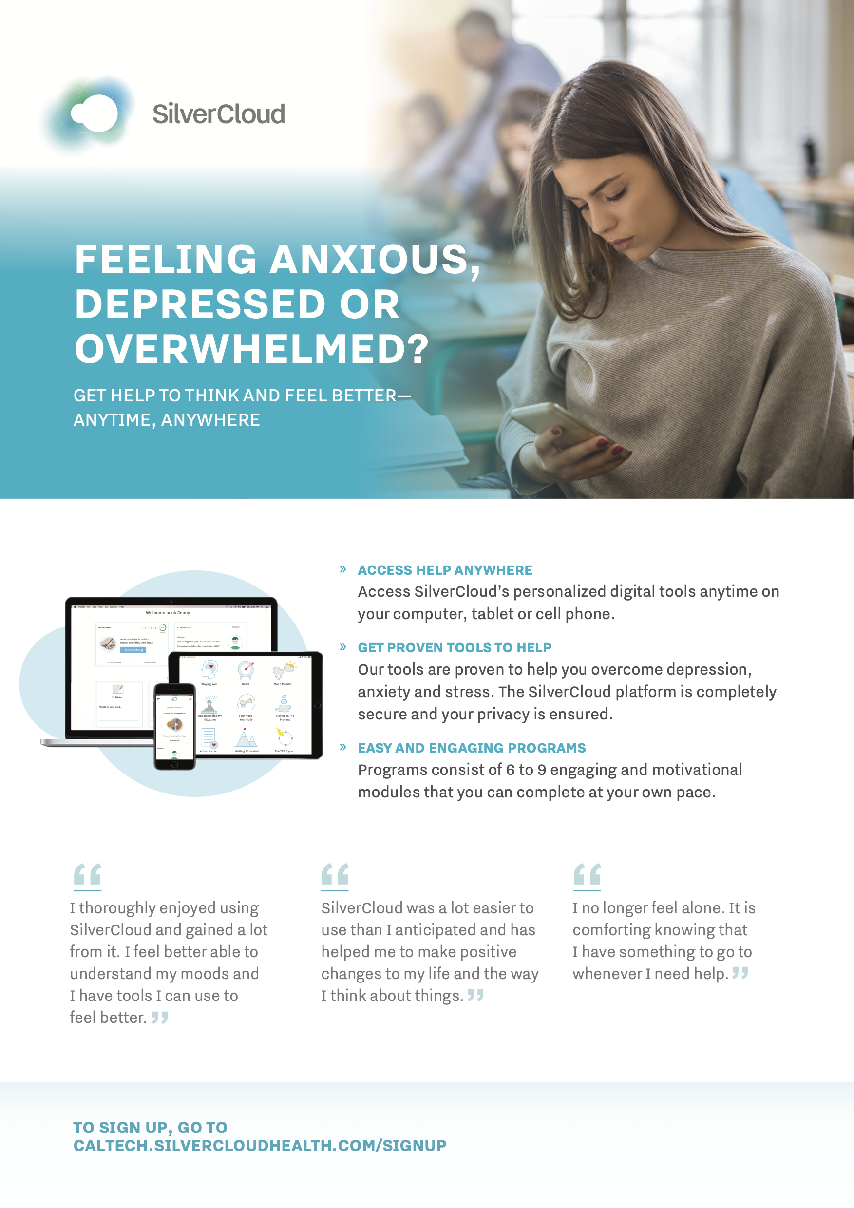 Feeling anxious, depressed, or overwhelmed? Try SilverCloud!