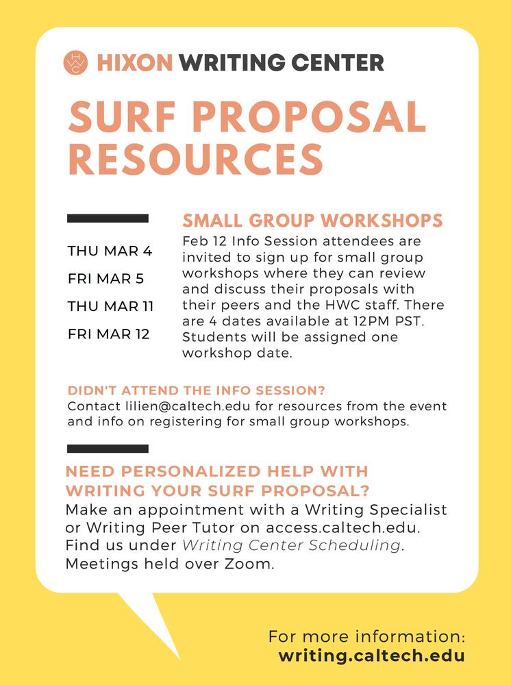 SURF Proposal Support flyer